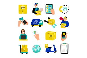 Cartoon delivery icons. Fast delivery illustrative vectors with quick courier and truck van, container package and warehouse cargo receiving isolated on white