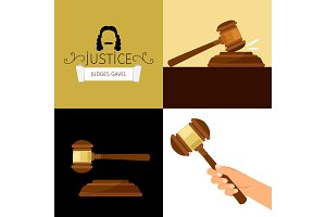 Judge gavel. Legal hammer cartoon vector illustration, adjudicator gavel in hand
