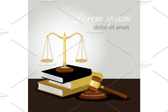 Justice Concept Justice Scales Judge Gavel And Law Books Vector Illustration Legal And Anti Crime Symbol