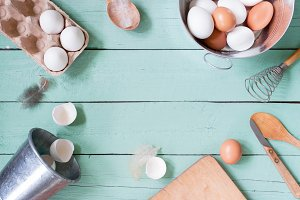 Rustic background with eggs