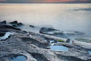 Summer seascape during sunset