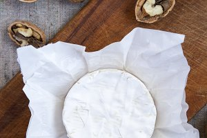 Round Camembert cheese or brie