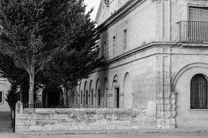 Ancient Building Patio Black White