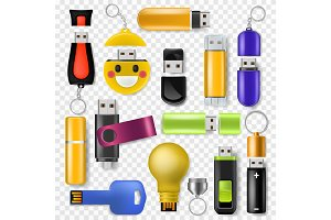 USB vector flash drive memory storage and digital transfer device to computer illustration set of removable flashdrive technology equipment isolated on transparent background