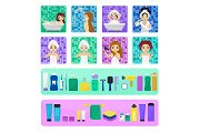 Woman bathing in bathroom vector beautiful girl character washing in bath illustration set of women with skincare cream or hygiene personal care isolated on white background