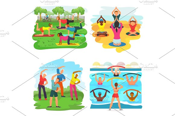 Workout Exercise Vector Active People Exercising With Trainer In Sportive Group In Park Illustration Set Of Man Or Woman Character Training Fitness Activity Isolated On White Background