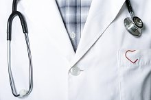 stethoscope and a red clip