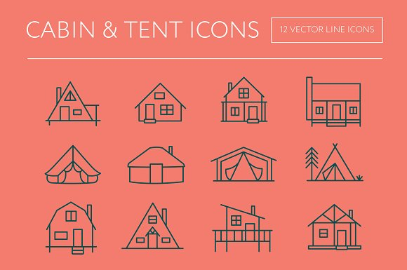 Cabin Tent Icons