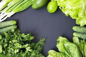 Frame with fresh organic raw produce