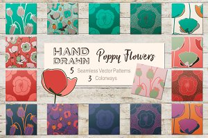 Hand Drawn Poppy Flowers