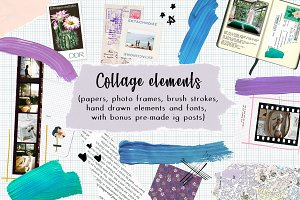 145 collage elements, fonts + Bonus