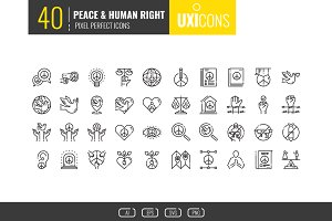 40 Peace & Human Right Icons