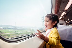 Excited Kids Traveling by Train