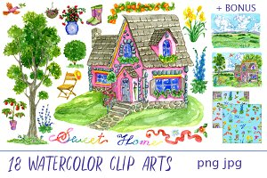 Cute house clip art set 1