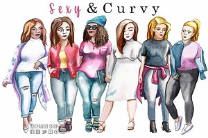Sexy and curvy, fashion ilustration