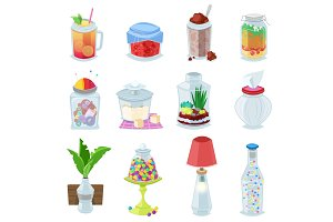 Glass jar vector jam or sweet jelly in mason glassware with lid or cover for canning and preserving illustration glassful set of container or cuppingglass with juice isolated on white background
