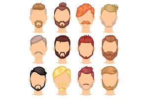 Beards vector portraite of bearded man with male haircut in barbershop and barbed mustache on hipsters face illustration set of barber manlike hairstyle isolated on white background