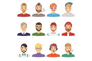 Beards vector portraite of bearded man with male haircut in barbershop and barbed mustache on hipsters face illustration set of people with barber hairstyle isolated on white background