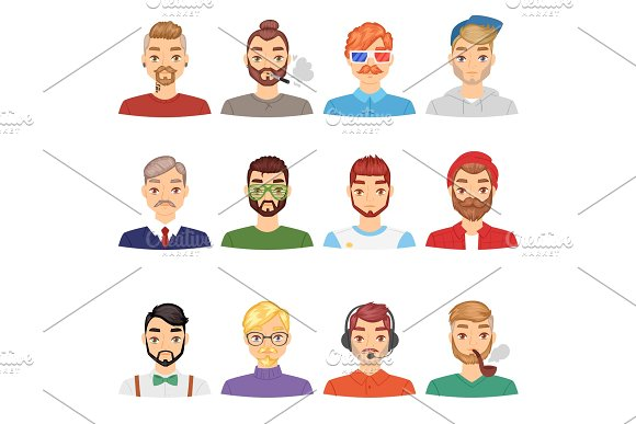 Beards Vector Portraite Of Bearded Man With Male Haircut In