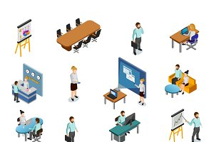 Isometric business people icons set