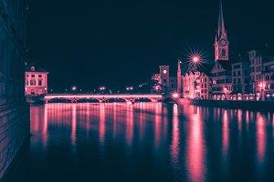 Night City Landscape of Zurich