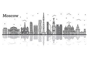 Outline Moscow Russia City Skyline