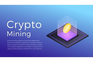 Cryptocurrency mining. Isometric illustration of Cryptocurrency Miner. Crypto Mining Industry concept