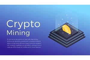 Crypto mining. Isometric illustration of Cryptocurrency Miner. Crypto Mining Industry concept