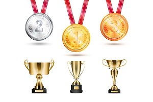 Medals Collection and Trophies Vector Illustration