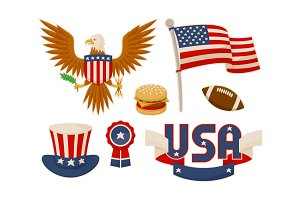 Various American Symbols Vector Set Illustration