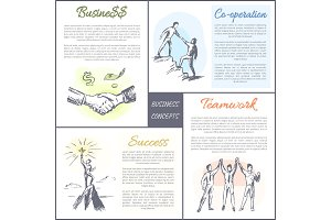 Business and Co-operation Set Vector Illustration