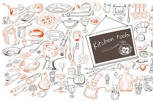 Hand Drawn Kitchen Icons Collection