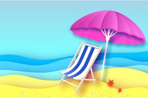 Pink parasol - umbrella in paper cut style. Blue Chaise lounge. Origami sea and beach. Vacation and travel concept.