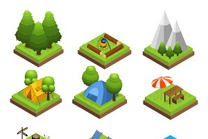 Isometric Traveling Camping Set