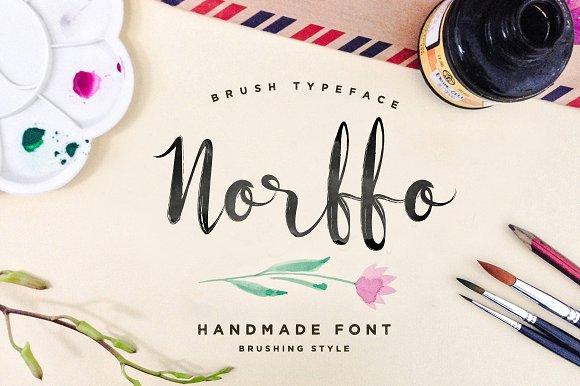 Norffo font watercolor brush script fonts creative