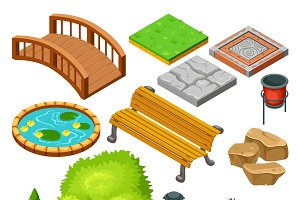 Isometric Park Landscape Icons Set