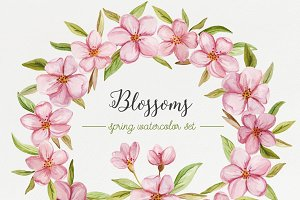 Blossoms. Spring watercolor set