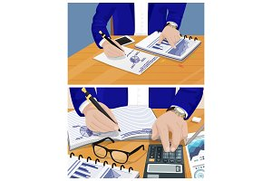 Businessman Activities Set Vector Illustration