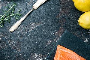 Fresh raw salmon filet