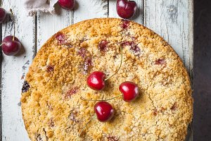 Homemade cherry crumble pie