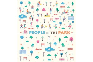 Big Set People in Park Icons Vector Illustration