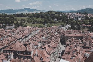 Aerial View of Historic Bern City