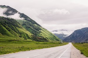 road in alpine meadows in the foothi