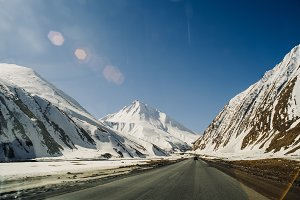 road in a mountain snow-covered gorg