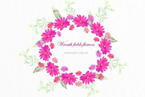 Wreath fields flowers clip art