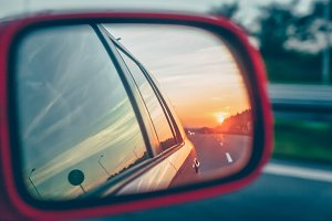 Sunset reflection in the rear view
