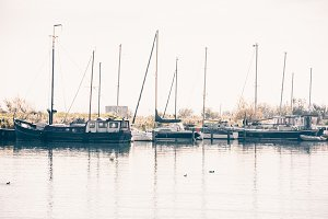 Harbor of a dutch village with
