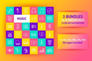 Music Line Art Icons
