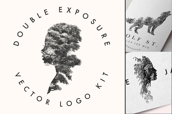 Logo Templates: New Tropical Design - DOUBLE EXPOSURE VECTOR LOGO KIT