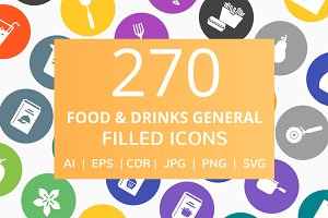 270 Food & Drinks Filled Round Icons